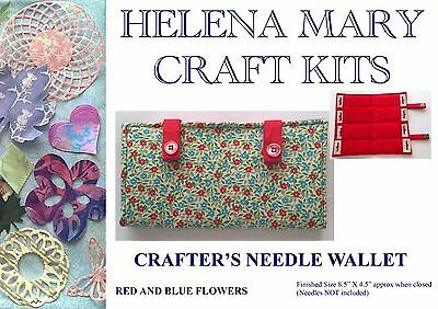 Helena Mary Crafters Needle Wallet Kit Complete Kit - Blue/Red Flowers
