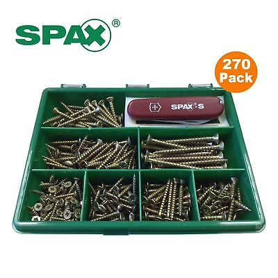 Spax 270 x Assorted Pozi Passivated Wood Screws in Organiser Box