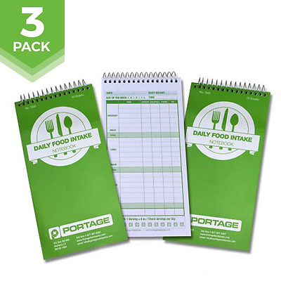 "Daily Food Intake Journal Notebook Calorie 4"" x 8"" Meal Tracker 140 Pages 3 Pack"
