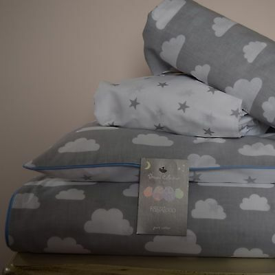 100%COTTON Cot Bed Duvet Cover Set Grey  Stars Clouds bedding baby boy  blue