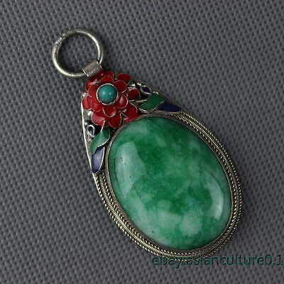 Old China Collectible Handwork Green Jade Cloisonne Flowers  Pendant LJ507