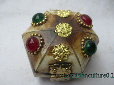 Old Tibet collection box, jewelry beads opal decoration LJ951