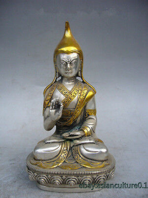 China Tibet collection decoration silver plated gold Buddha statue LJ979