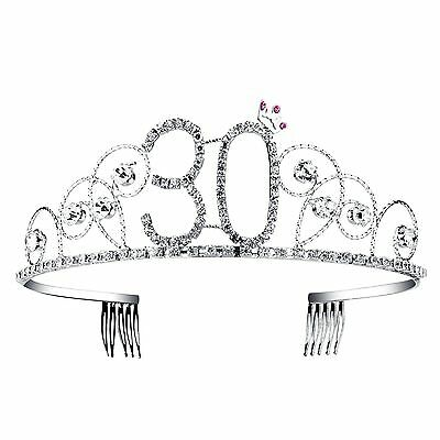BABEYOND Crystal Tiara Birthday Crown Princess Hair Accessories Silver Diamante