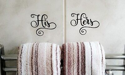 His and Hers Vinyl Sticker/Decal Sign for Bathroom/Bedroom Shower Screen Wall