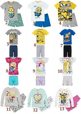 Boys Girls Kids Minions Pyjamas pjs T-Shirt Shorts set Age 6-12 years 116-152cm