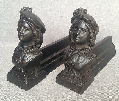Antique pair of chenets France made of cast iron early 1900's fireplace woman