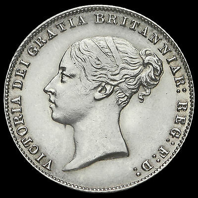 1859 Queen Victoria Young Head Silver Sixpence, Scarce