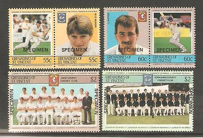 "1985  Grenadines Of St. Vincent - Sg 364 / 369 - Cricketers - ""specimen"""