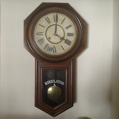 Large Antique Ansonia Clock Co. Regulator A Pendulum Clock