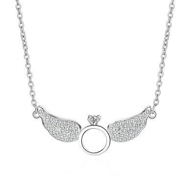 Women's Sweet Fashion 925 Sterling Silver Angel Wing Ring Pendant Necklace