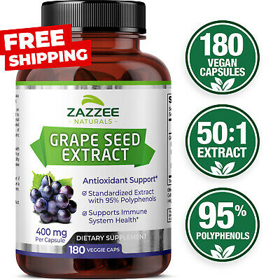 Grape Seed Extract 180 Veggie Capsules 400 mg 95% Polyphenols Antioxidant