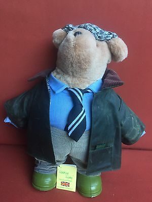 "Gabrielle Designs Hooray Henry 14"" Bear Green Boots Barbour Coat Tie"