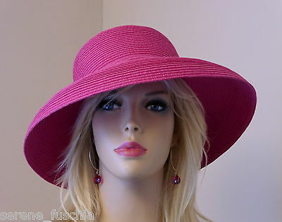 Womens Fuchsia Pink Wedding/Holiday/Church Hat, Packable, Washable, (7.4) Lg New