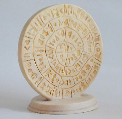 Phaistos Disc Ancient Statue Museum Copy Art Deco Minoan Greek Handmade 6.1""