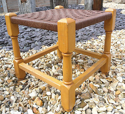 Vintage Retro Stool 1970s Wooden Framed Woven String Topped Small Stool