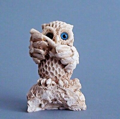Owl Bird Statue Greek Wisdom Symbol Athens Archaic Color Alabaster Artifact 3.1""