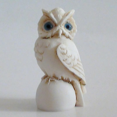Owl Bird Statue Greek Roman Wisdom Symbol Alabaster Patina Wildlife 8cm/3.1""