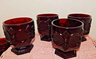 Vintage Avon 1876 Ruby Red Cape Cod~Footed Glasses~(4)
