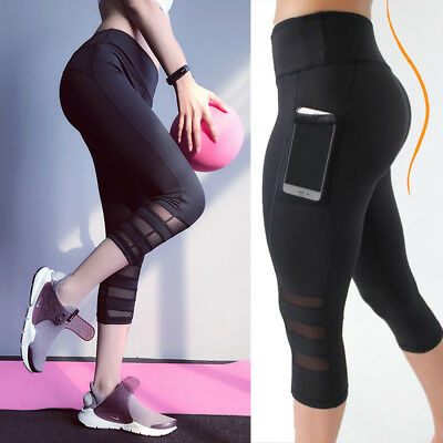 Womens Cropped 3/4 Capri Length Leggings Summer YOGA Pants Sport Workout Trouser