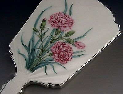 English Sterling Silver Hand Painted Enamel Dressing Table Mirror 1965 Carnation