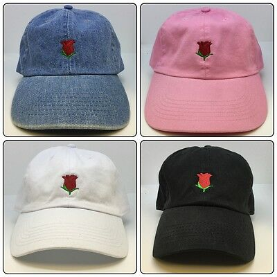 Rose Emoji Adjustable Strapback Cap Dad Hat Black White Pink Denim Apple  iPhone 078c0b68ea0c