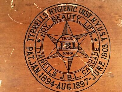 1903 Tyrrells Hygienic Inst. N.Y. U.S.A. JBL Colon Enema Wood Box Quack Medicine