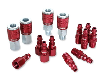 14 Pc D Type Compressor Air Tool Hose Connectors Couplers With Plug Kit Set Red