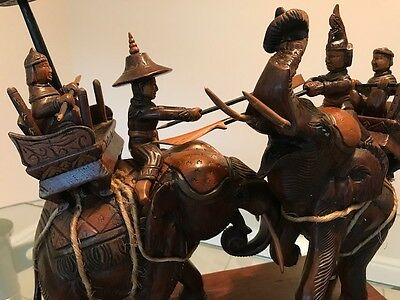 Unique Wooden Carving of Elephants and Figures depicting Thai and Burmese Kings
