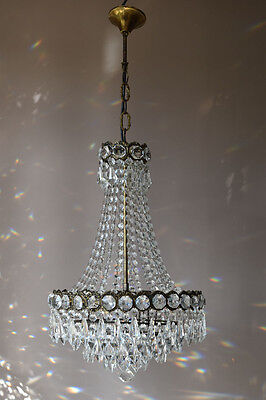 CHIC Brass Antique French Vintage Lead Crystal Chandelier Old Lamp Home Lighting