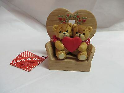 1983 Lucy And Me ~ Enesco ~ 2 Bears In A Chair W/ Heart