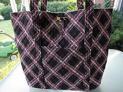 Vera Bradley Factory Exclusive Cotton Toggle Closure LARGE Tote Bag Minsk Plaid