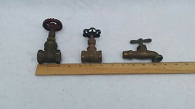 Solid Brass Spigot Indoor / Outdoor Faucet Gate Valve Vintage Steampunk Lot