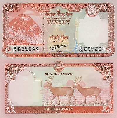 Nepal 20 Rupees (2016) - Stags/Mt. Everest/pNew UNC