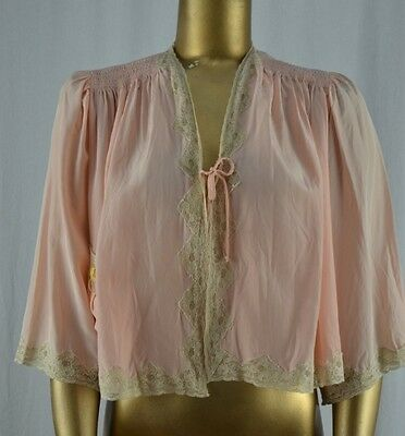 VINTAGE 40's Peach & Ecru Lace Bed Jacket M Flowered Pocket Trousseau By Terris