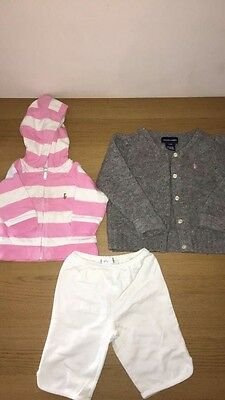 Baby Girl Ralph Lauren Tracksuit Hoodie and Cardigan Sweater 3 months and 24 mon
