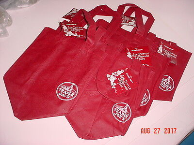 Lot Of Six (6) Trader Joe's Reusable Burgundy Red Six (6) Bottle Beverage Totes