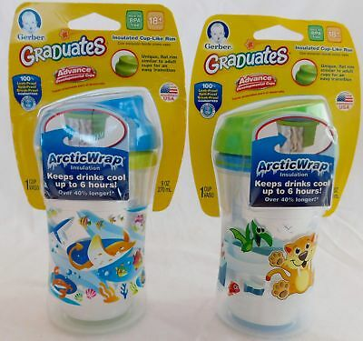 NUK Gerber Graduates 2 Piece Seal Zone Insulated 9oz. Sippy Cup 2-Pack Blu/Green