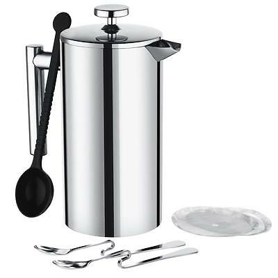 French Press Coffee Maker,Patec 34oz/1000mL Double Wall Stainless Steel...