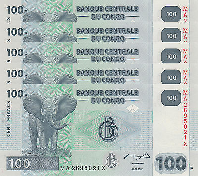 LOT, Congo DR 100 Francs (31.07.2007) p98-New x 5 PCS UNC