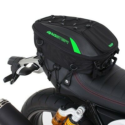 "Bagster ""spider"" Motorcycle Rear Seat Bag - 23L - Blk/green - Web Mount System"