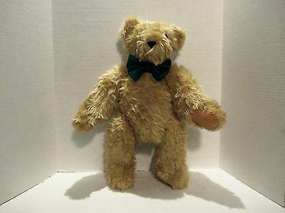 Vintage Vermont Teddy Bear (Light Brown)Green Bow- 22 Inches-Moveable Joints