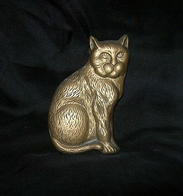 "Vintage Brass Door Knocker -  LARGE 5"" CAT"