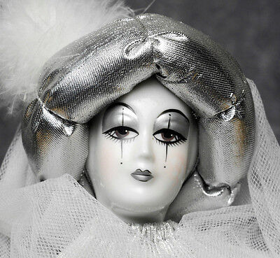 Vintage Christmas Silver Harlequin Mime Doll Hand-Painted Porcelain Soft Body