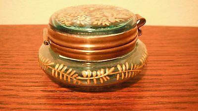 Lovely Bohemian  Moser Glass Trinket Jar  (Turqoise/Aqua colors)