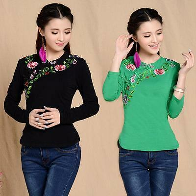 Chinese Style Womens Embroidery Cotton Long Sleeve Tops T-shirt Blouse Floral Sz