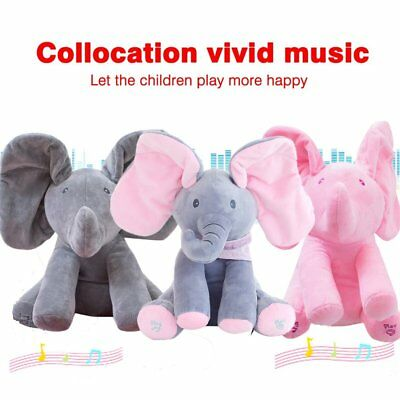 Peek-a-Boo Animated Talking and Singing Elephant Stuffed Animals Toy Play MusA!