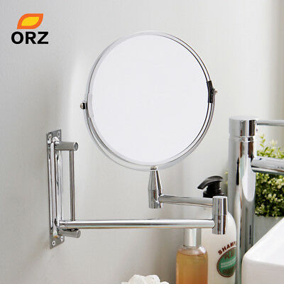 Wall Mount Extendable Double Side Bathroom Makeup Cosmetic Mirror 3X Magnifying
