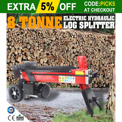 8 Tonne Electric Hydraulic Log Splitter Wood Timber Firewood Block Cutter Axe AU