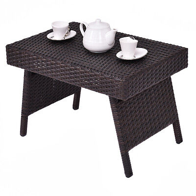 Folding Wicker Rattan Side Coffee Table Patio Square Garden Outdoor Furniture